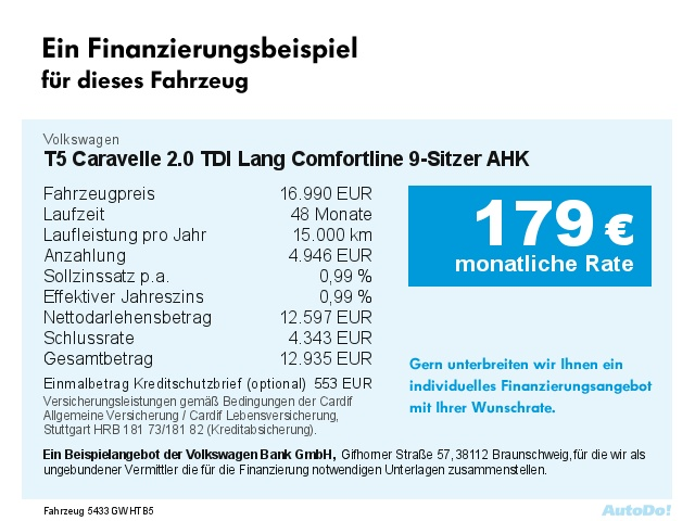 volkswagen t5 caravelle 2.0 tdi lang comfortline 9-sitzer - deine