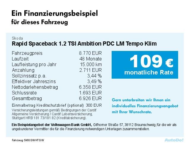 SKODA Rapid Spaceback 1.2 TSI Ambition PDC LM Tempo